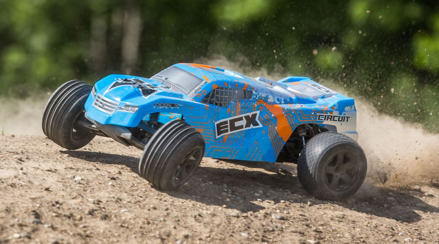 Image for RECALLED - 1/10 Circuit 2WD Stadium Truck, Brushed, LiPo, RTR: Blue/Orange from HorizonHobby