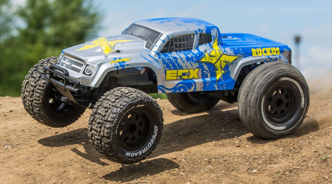 Image for RECALLED - 1/10 Ruckus 2WD Monster Truck, Brushed, LiPo, RTR, Silver/Blue from HorizonHobby