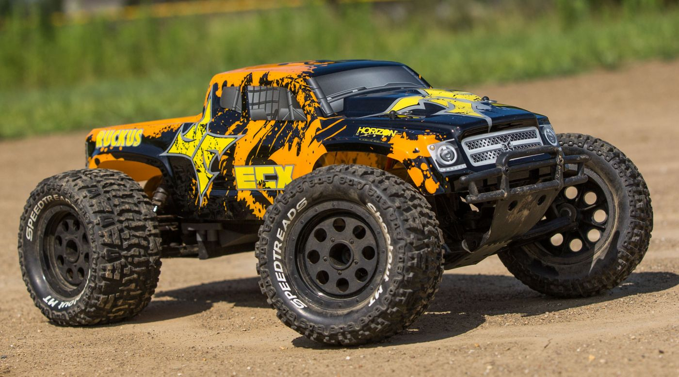 Image for RECALLED - 1/10 Ruckus 2WD Monster Truck, Brushed, LiPo, RTR, Black/Orange from HorizonHobby