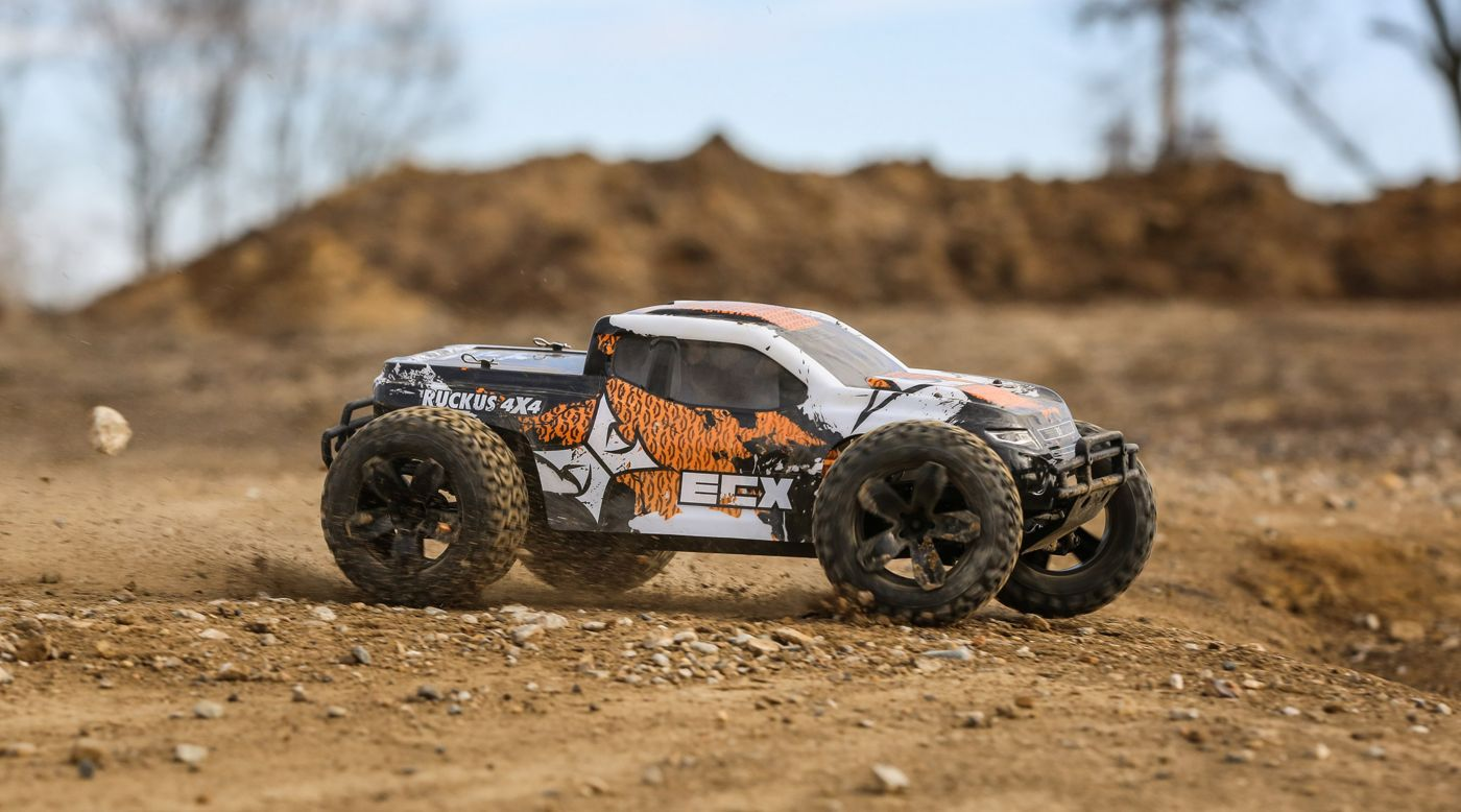 Image for 1/10 Ruckus 4WD Monster Truck Brushed RTR, Orange/White from HorizonHobby