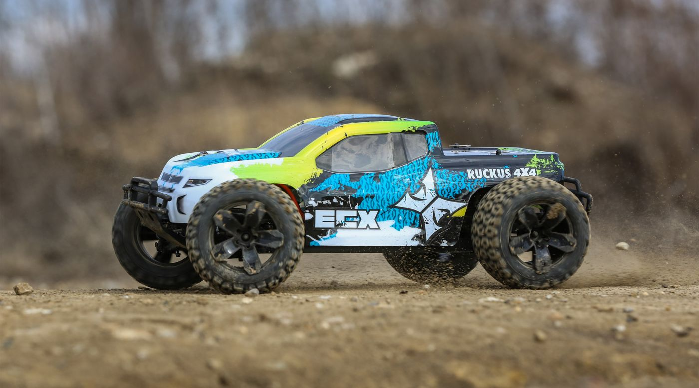 Image for 1/10 Ruckus 4WD Monster Truck Brushed RTR, Green/Blue from HorizonHobby