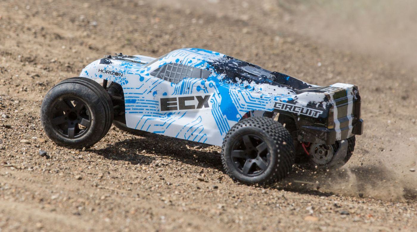 Image for 1/10 Circuit 2WD Stadium Truck Brushed with LiPo RTR, White/Blue from HorizonHobby