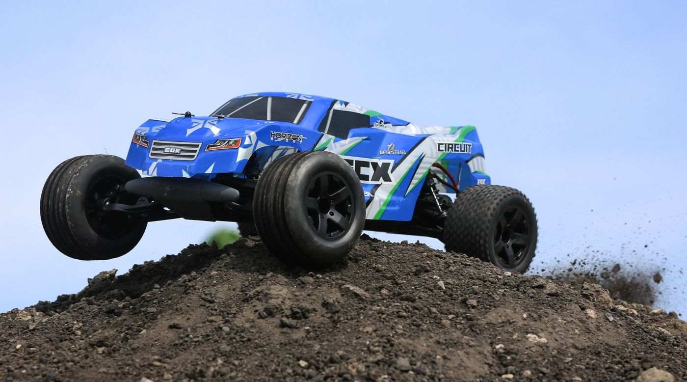 Image for 1/10 Circuit 2WD Stadium Truck Brushed RTR, Blue/White from HorizonHobby
