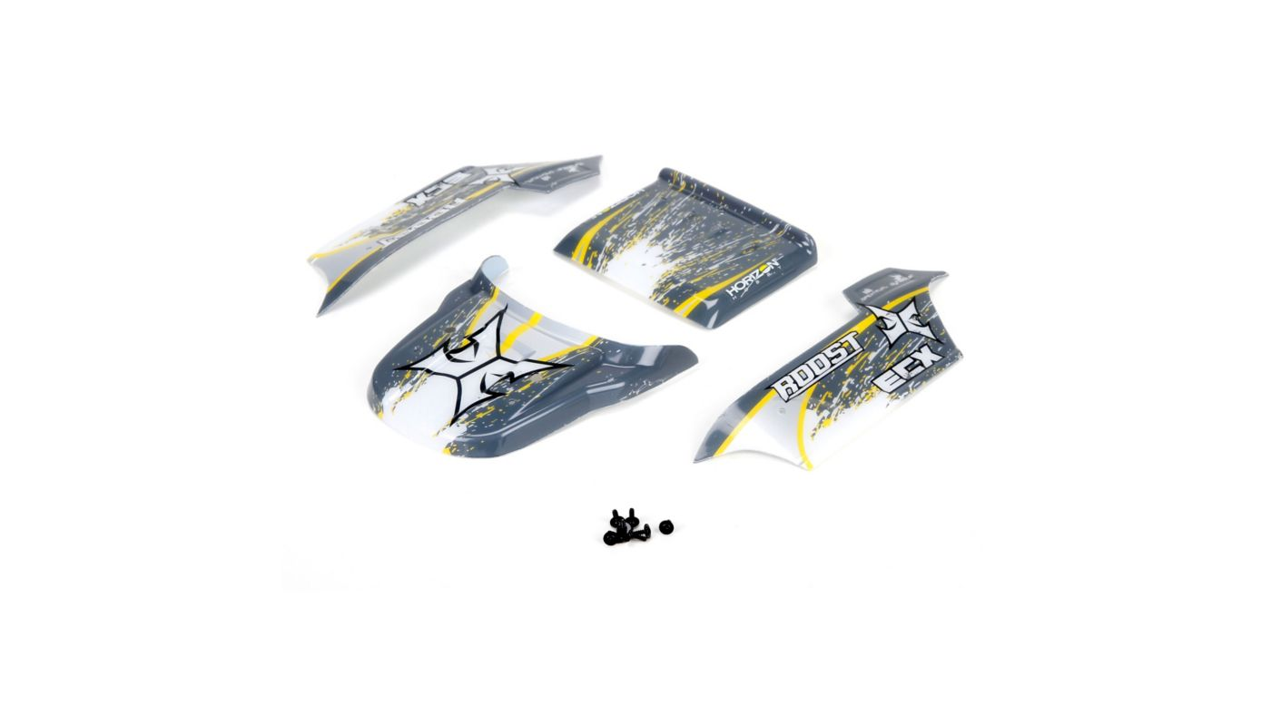 Image for Body, Grey/Yellow: 1/18 4WD Roost from HorizonHobby