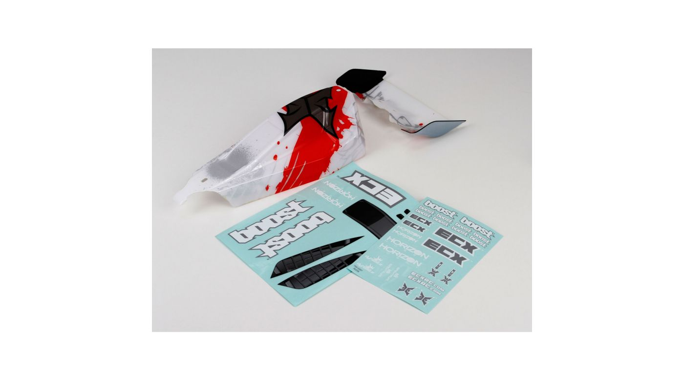 Image for Body/Wing, White/Red: 1/10 2WD Boost from HorizonHobby