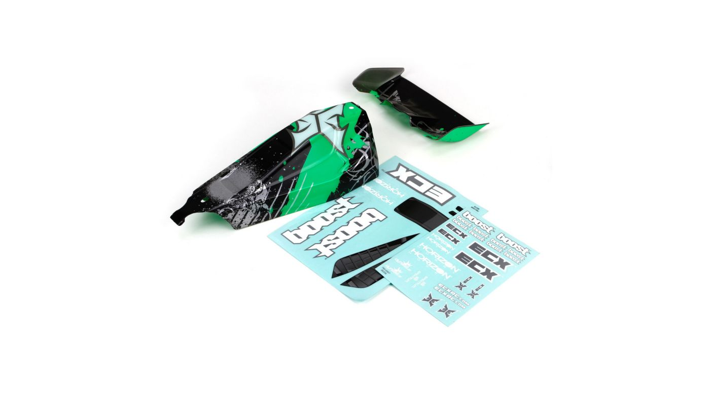 Image for 1/10 Painted Body with Wing, Black/Green: 2WD Boost from HorizonHobby