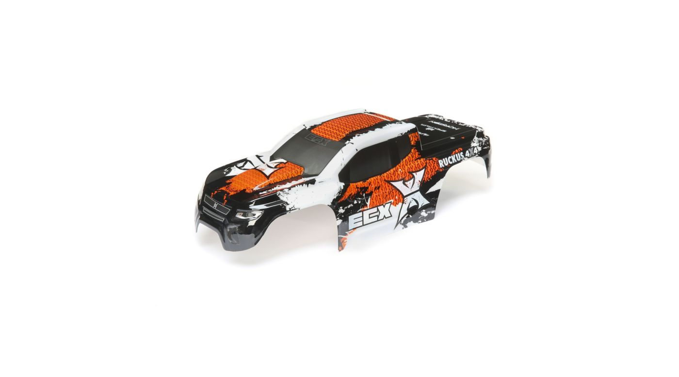 Image for 1/10 Painted Body, White/Orange: 2WD and 4WD Ruckus from HorizonHobby