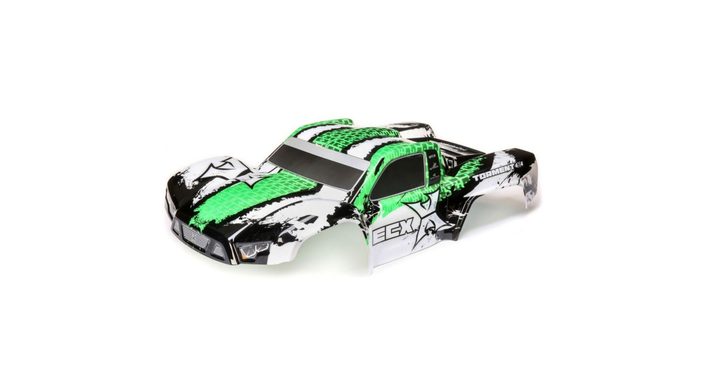 Image for Body, Painted, White/Green: 1/10 4WD Torment from HorizonHobby