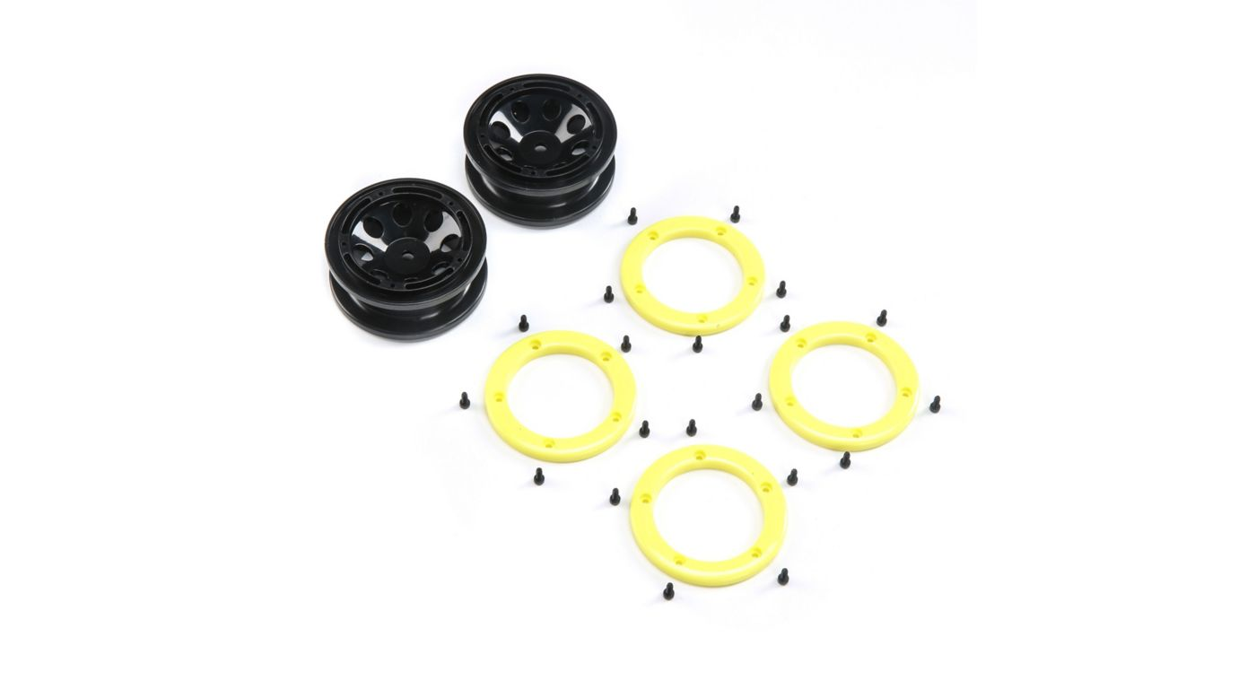 Image for FR/RR Wheel with Beadlock Black/Yellow:  Temper G2 from HorizonHobby
