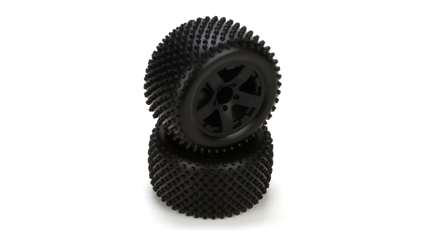 Image for Rear Tire, Premount, Black Wheel (2): 1/10 2WD Circuit from HorizonHobby