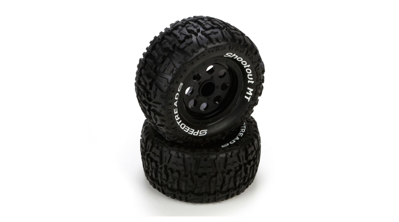 Front/Rear Wheel & Tire, Premount, Black (2): 1/10 2WD/4WD Ruckus ...