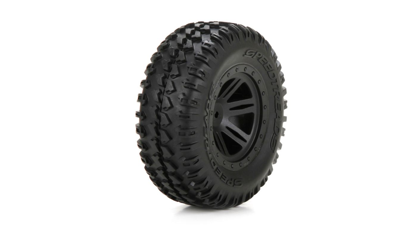 Image for Front Tire, Premounted, Black Wheel (2): 1/10 AMP DB from HorizonHobby