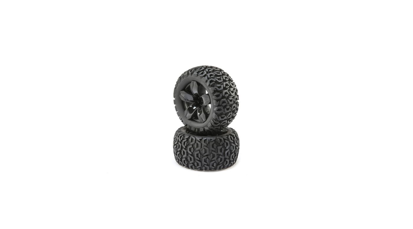 Image for Front and Rear Wheel with Premounted Tire, Black (2): 1/10 2WD 4WD Ruckus from HorizonHobby
