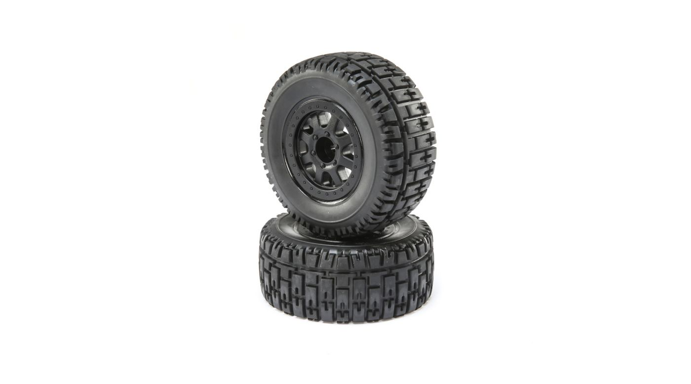 Image for Front and Rear Wheel with Premounted Tire, Black (2): 1/10 2WD 4WD Torment from HorizonHobby
