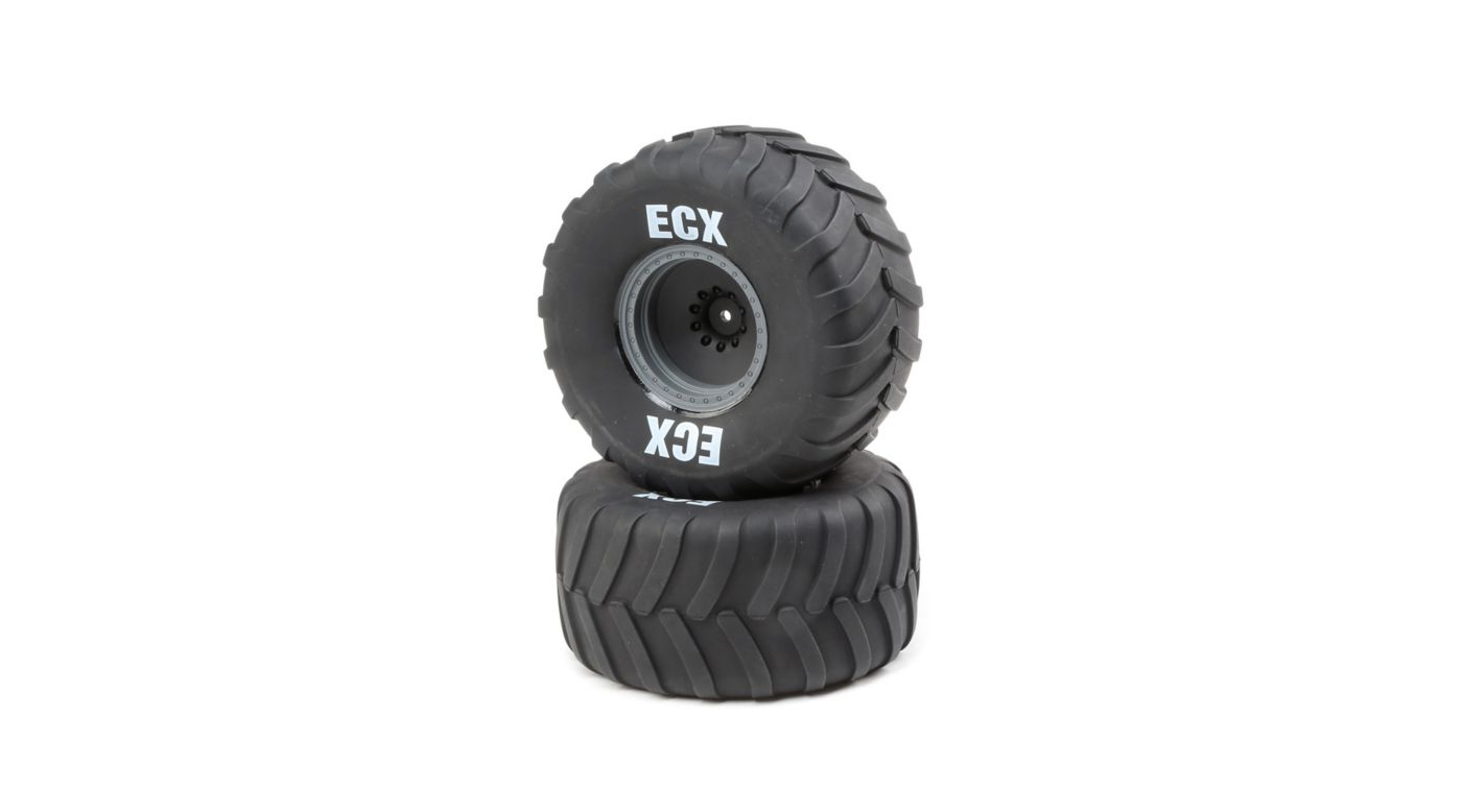 Image for Right/Left Premounted Tire, Gray Wheel (2): 1/10 2WD Axe MT from HorizonHobby