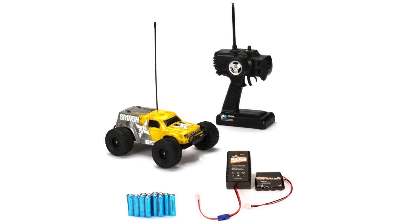 Image for 2WD 1/18 Smash Monster Truck RTR, Yellow with Battery & Charger from HorizonHobby