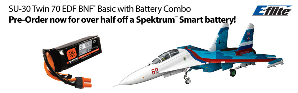 E-flite Su-30 Twin 70mm EDF BNF Basic Spektrum 22.2V 5000mAh 6S 30C Smart LiPo Battery Combo