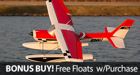 Get a free float and wire mounting set when you purchase an E-flite Carbon-Z Cessna 150 2.1m BNF Basic or PNP RC airplane