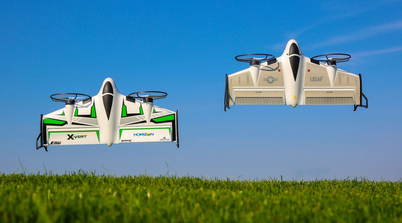 The E-flite X-VERT VTOL (Vertical TakeOff and Landing) park flyer's simple, tail-sitter design and SAFE technology make it easy for almost anyone to enjoy its amazing flight capabilities.