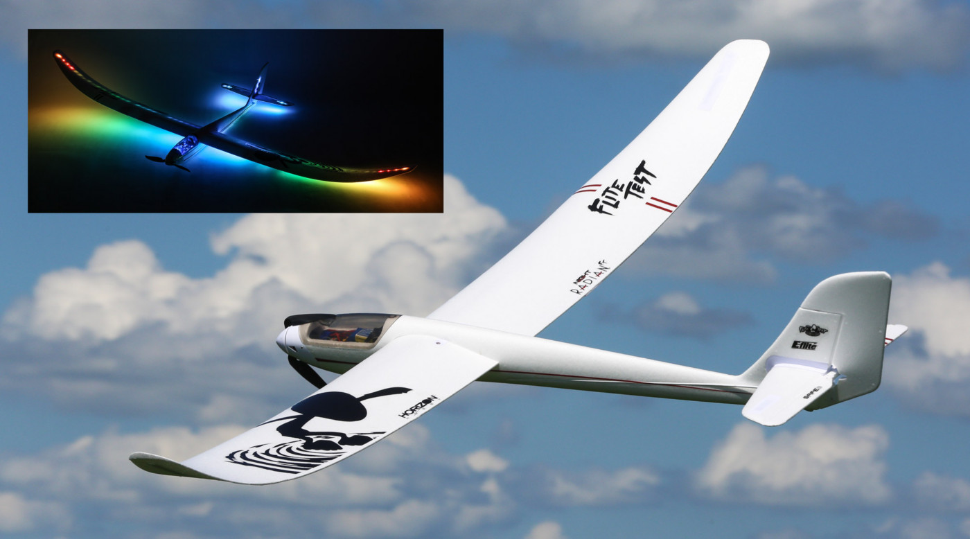 E-flite Night Radian FT 2.0m BNF Basic and PNP Powered Glider Sailplane with integrated lights