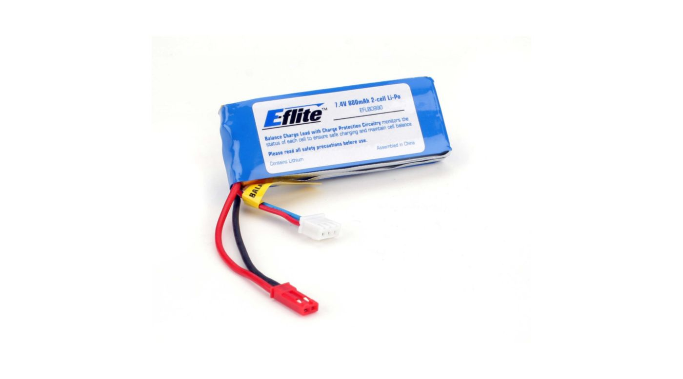 Image for 800mAh 2S 7.4V 10C LiPo Battery, 20AWG JST/Balance from HorizonHobby