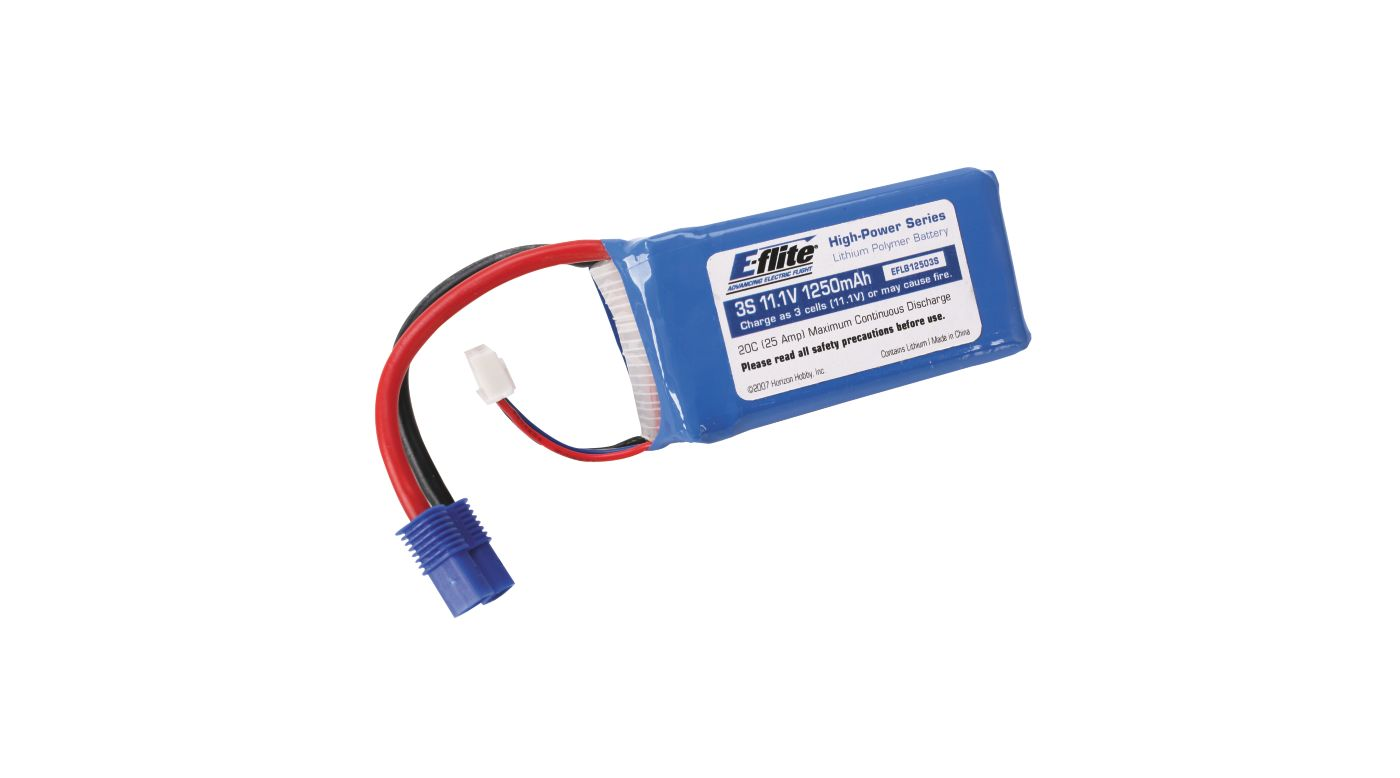 Image for 1250mAh 3S 11.1V 20C LiPo, 13AWG: EC3 from HorizonHobby