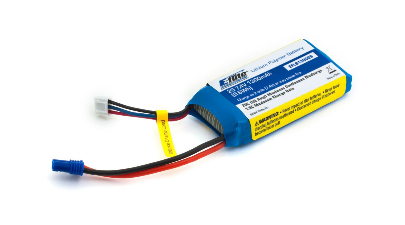 Image for 1300mAh 2S 7.4V 20C LiPo, 18 AWG: EC2 from HorizonHobby