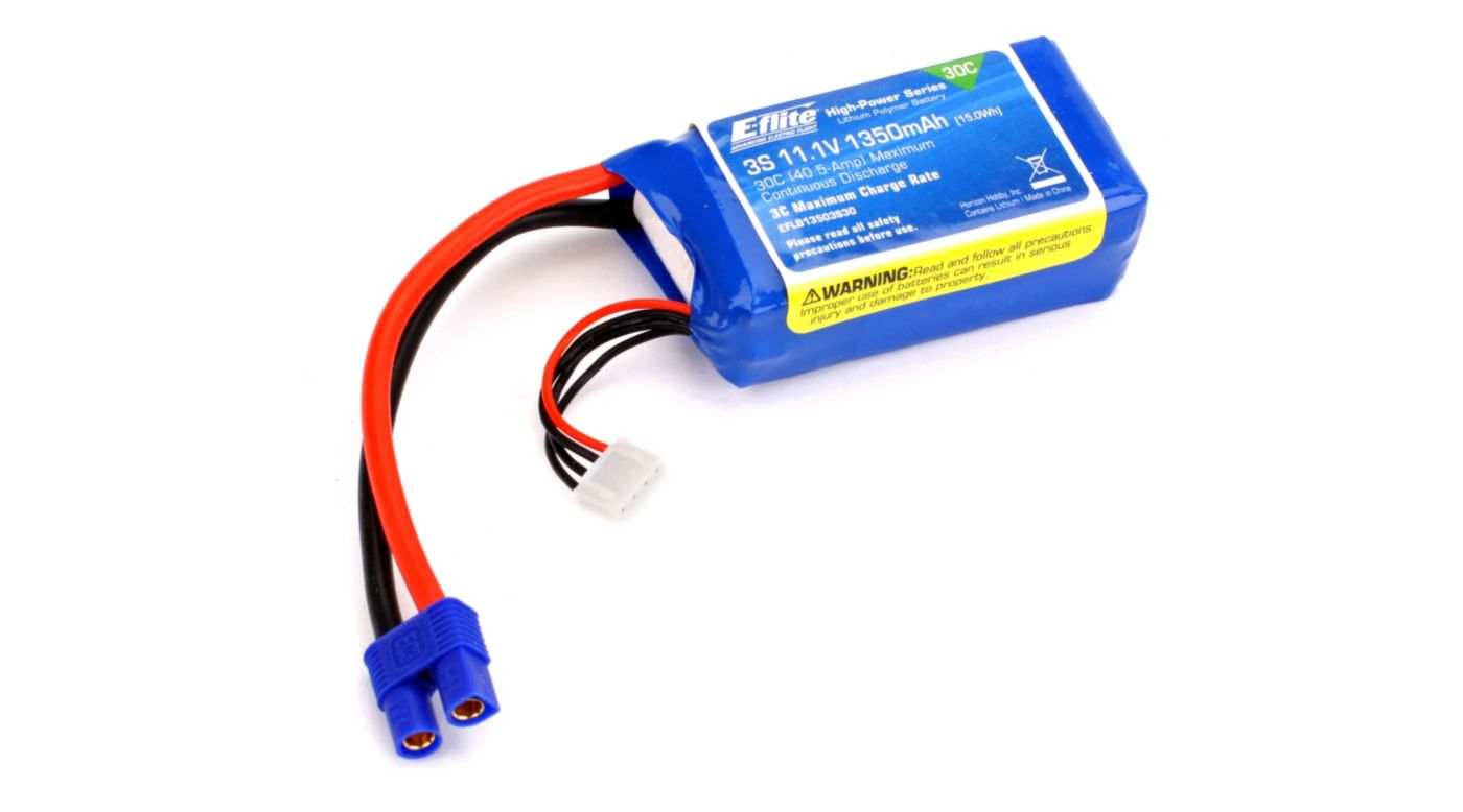 Image for 1350mAh 3S 11.1V 30C LiPo, 13AWG: EC3 from HorizonHobby