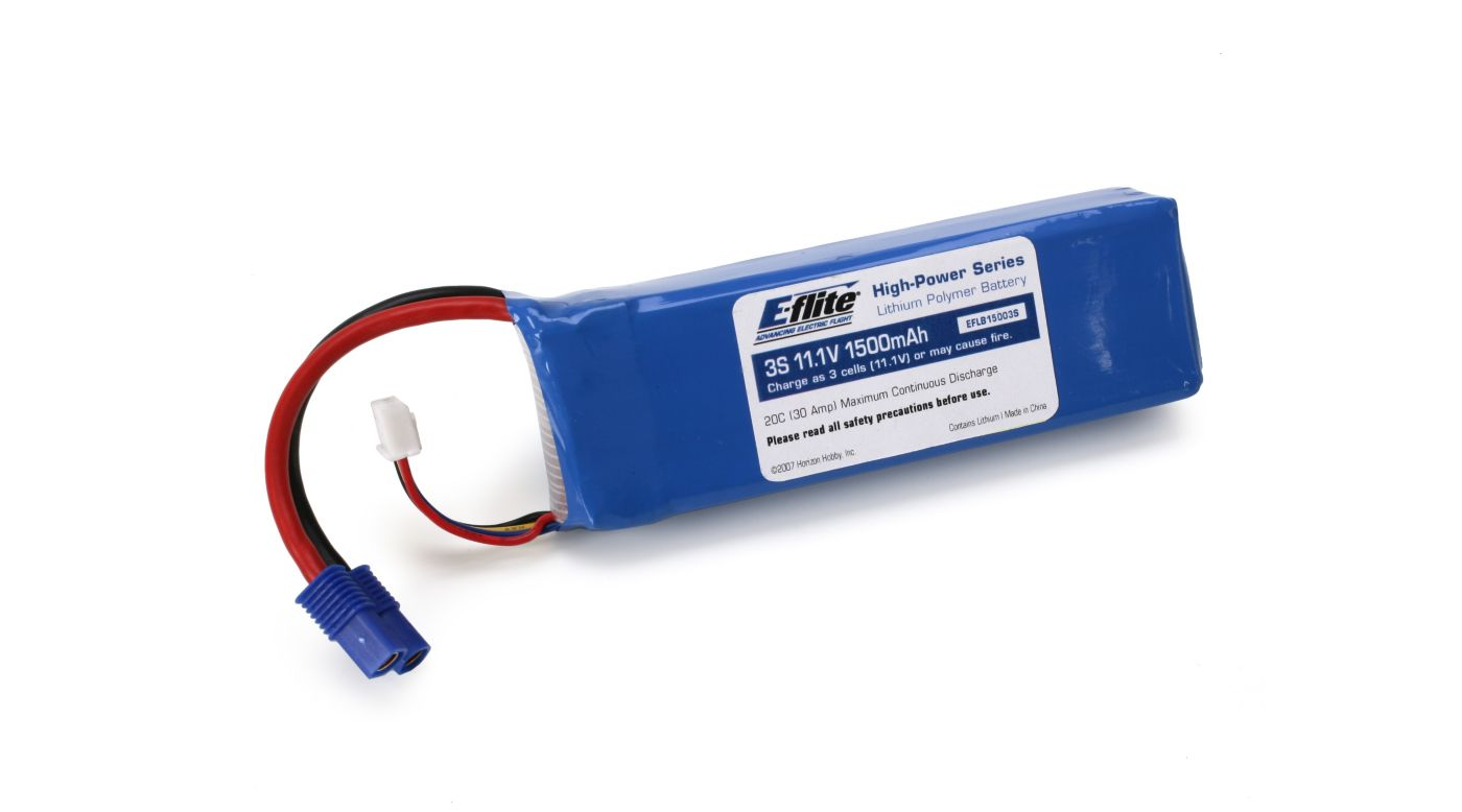 Image for 1500mAh 3S 11.1V 20C LiPo, 13AWG: EC3 from HorizonHobby