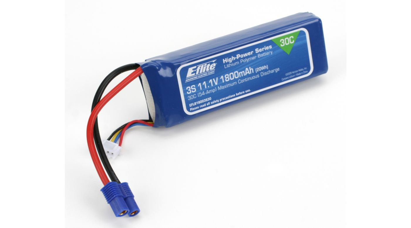 Image for 1800mAh 3S 11.1V 30C LiPo, 13AWG: EC3 from HorizonHobby