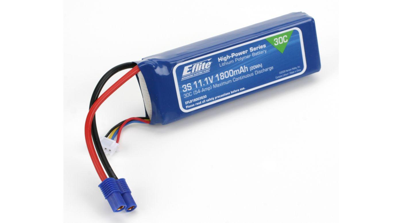 Image for 11.1V 1800mAh 3S 30C LiPo Battery: EC3 from HorizonHobby