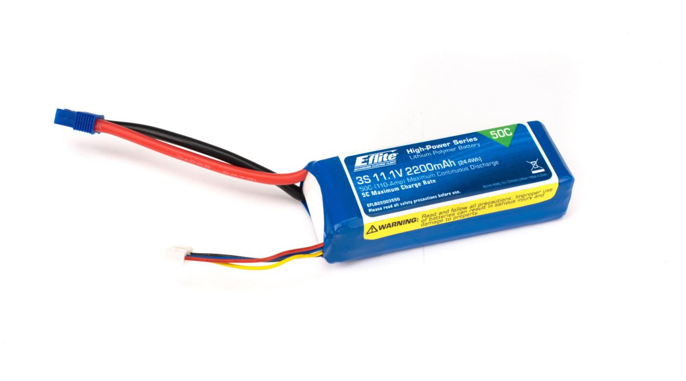 Image for 2200mAh 3S 11.1V 50C LiPo 13AWG: EC3 from HorizonHobby