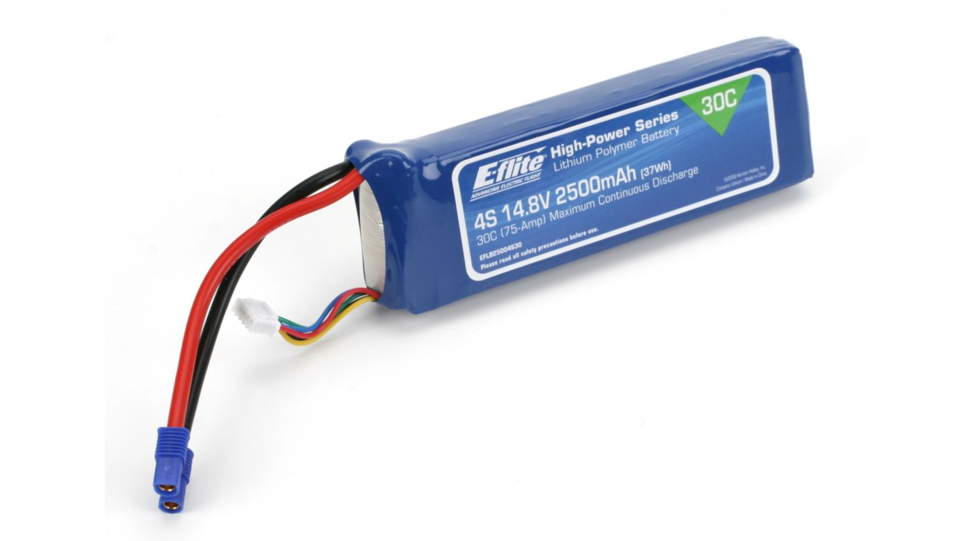 Image for 14.8V 2500mAh 30C 4S LiPo, 12AWG: EC3 from HorizonHobby