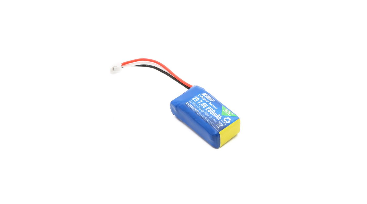 Image for 280mAh 2S 7.4V 30C LiPo Battery from Horizon Hobby
