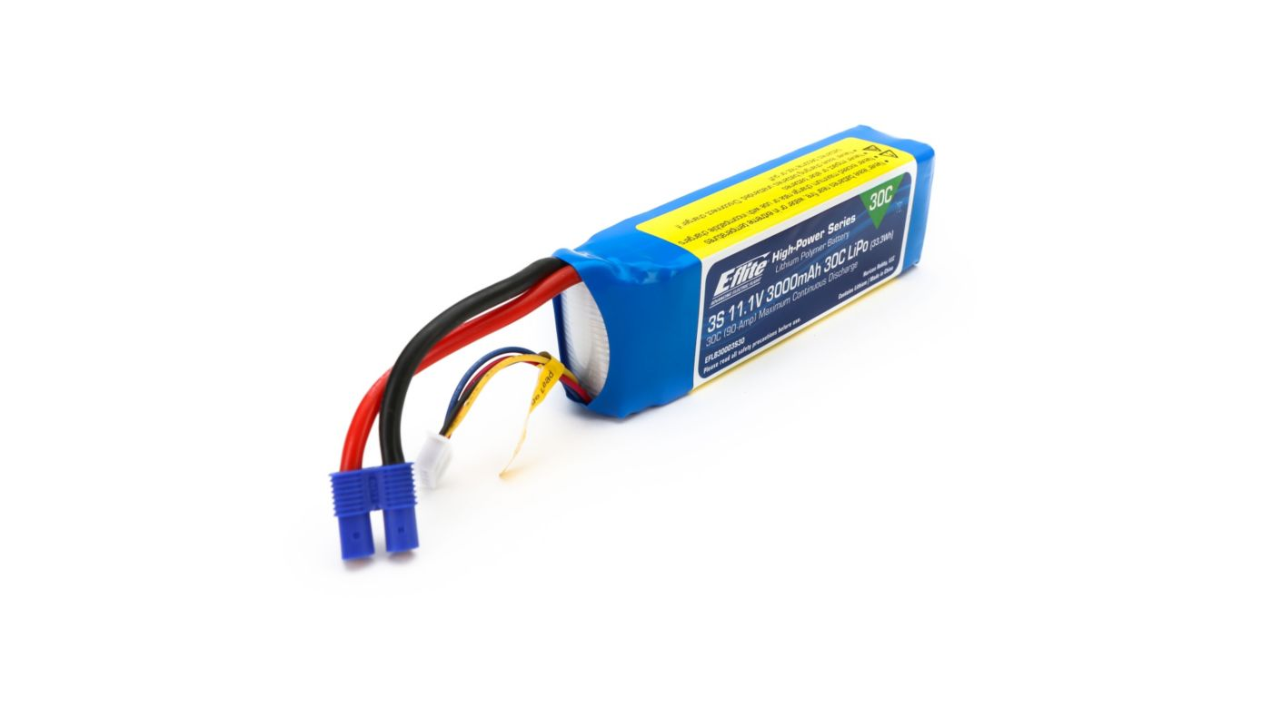 Image for 3000mAh 3S 11.1V 30C LiPo, 12AWG: EC3 from HorizonHobby