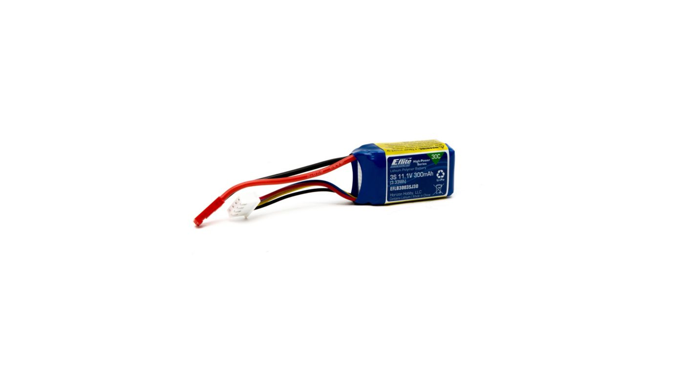 Image for 11.1V 300mAh 3S 30C LiPo Battery: JST from HorizonHobby