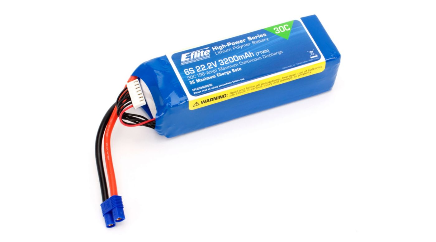 Image for 22.2V 3200mAh 6S 30C LiPo Battery: EC3 from HorizonHobby