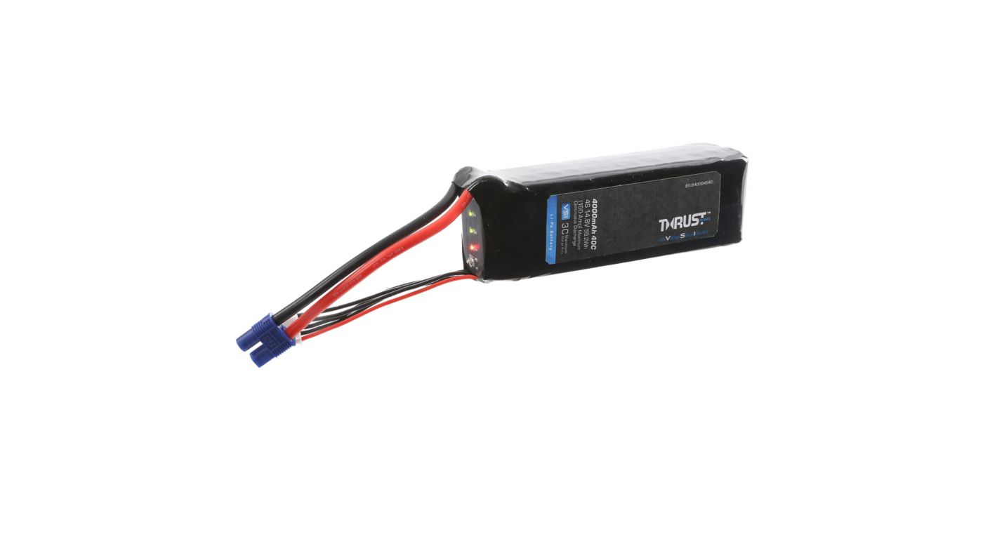 Image for Thrust VSI 14.8V 4000mAh 40C 4S LiPo Battery: EC3 from HorizonHobby