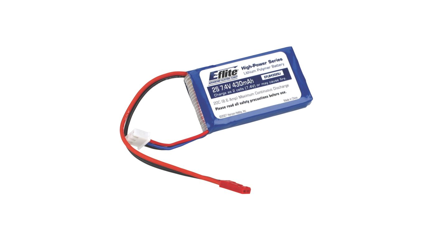 Image for 430mAh 2S 7.4V 20C LiPo, 20AWG: JST from HorizonHobby