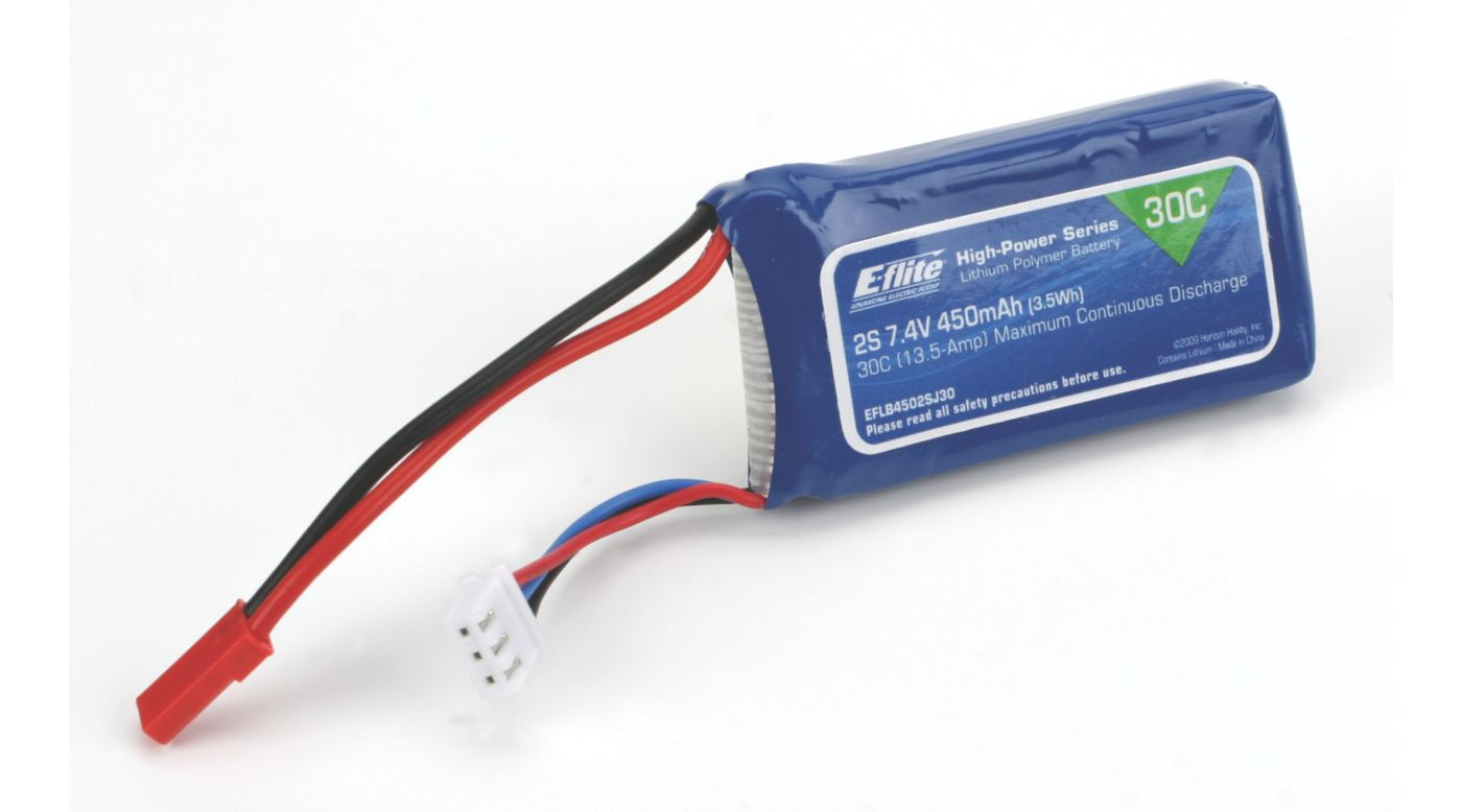 Image for 450mAh 2S 7.4V 30C LiPo, 18AWG: JST from HorizonHobby