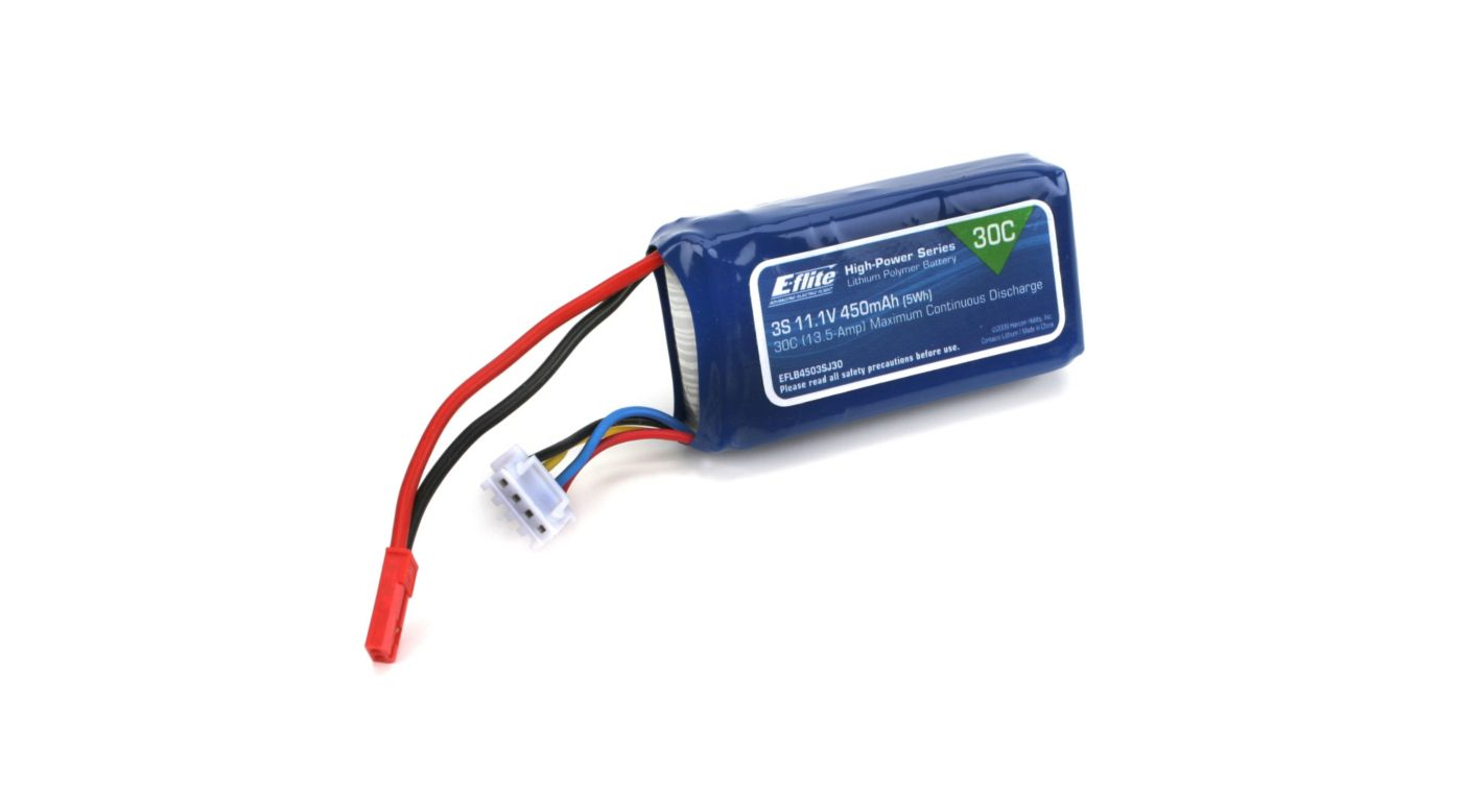 Image for 450mAh 3S 11.1V 30C LiPo, 18AWG: JST from HorizonHobby