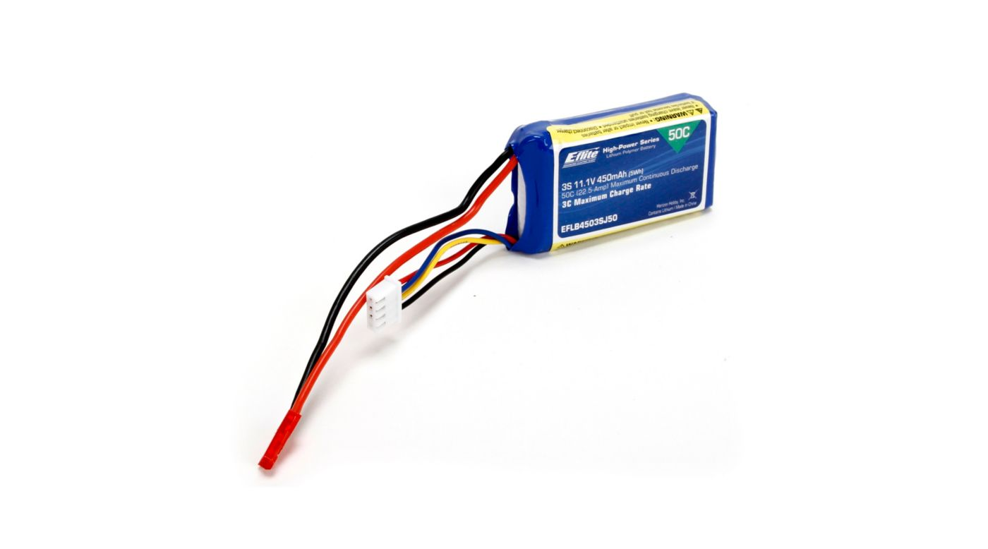 Image for 450mAh 3S 11.1V 50C LiPo, 18AWG: JST from HorizonHobby