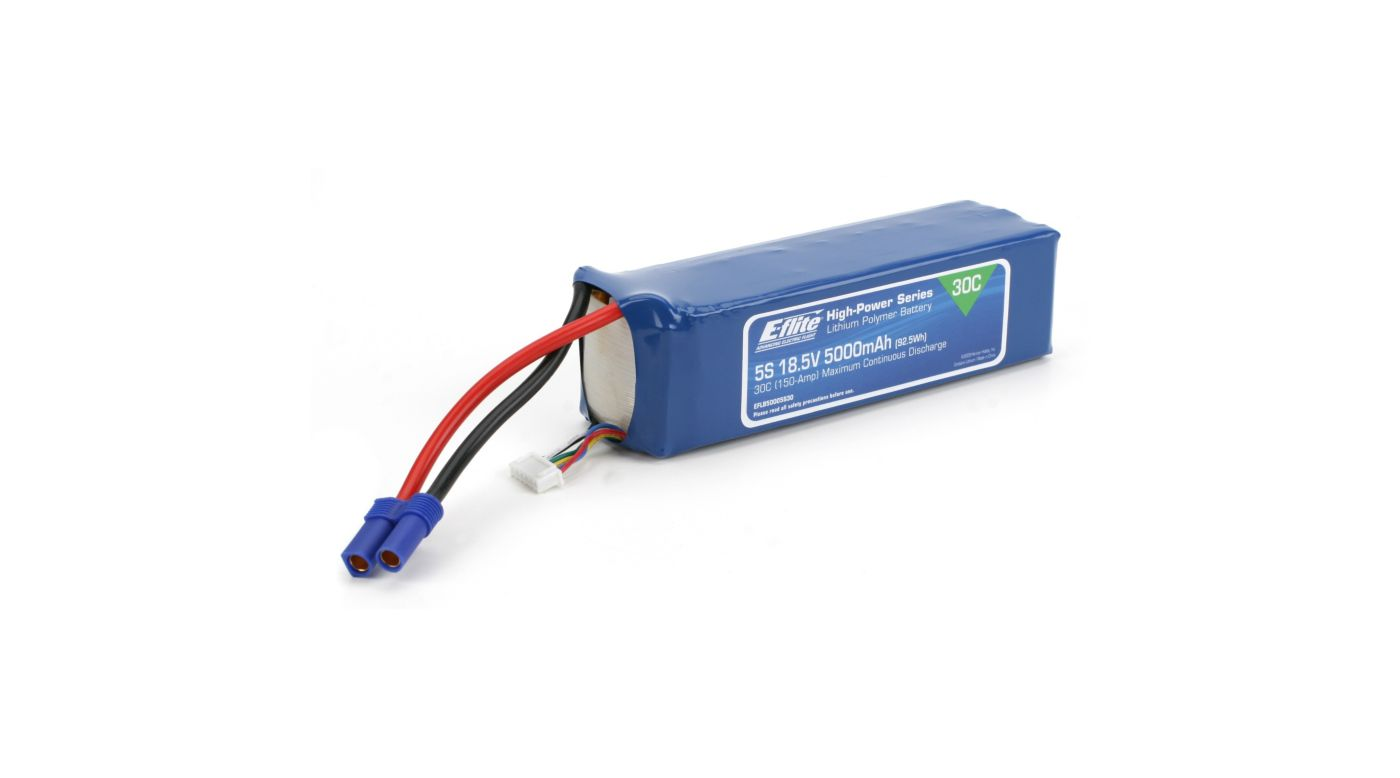 Image for 5000mAh 5S 18.5V 30C LiPo, 10AWG: EC5 from HorizonHobby