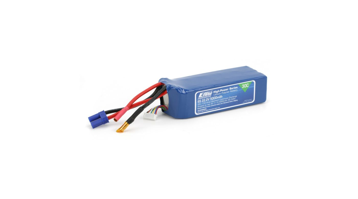 Image for 5000mAh 6S 22.2V 30C LiPo, 10AWG: EC5 from HorizonHobby