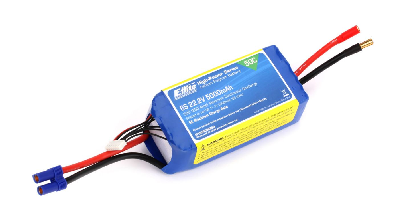 Image for 5000mAh 6S 22.2V 50C LiPo, 10AWG: EC5 from HorizonHobby