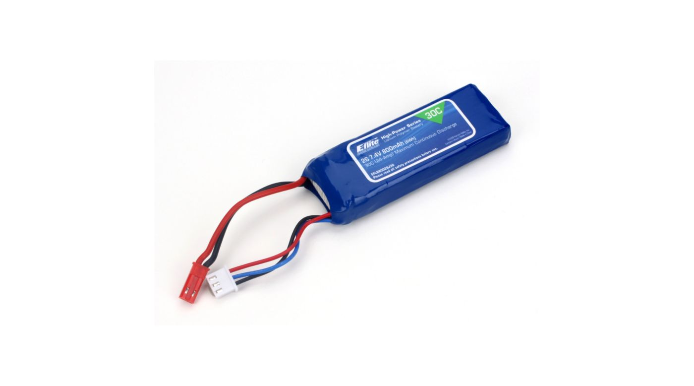 Image for 800mAh 2S 7.4V 30C LiPo, 18AWG JST from HorizonHobby