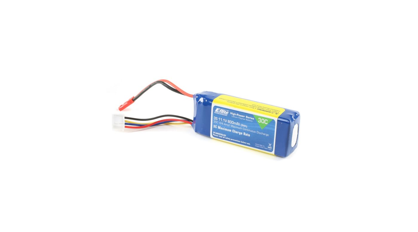 Image for 11.1V 800mAh 3S 30C LiPo, 18AWG JST from HorizonHobby