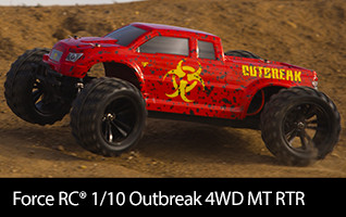 Take command of the Force RC 1/10-Scale Outbreak 4WD Monster Truck and smash and bash with the best of them.