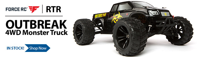 Take command of the Force RC 1/10-Scale Outbreak 4WD Monster Truck and smash and bash with the best of them. Best of all you can go from box to bashing in no-time.