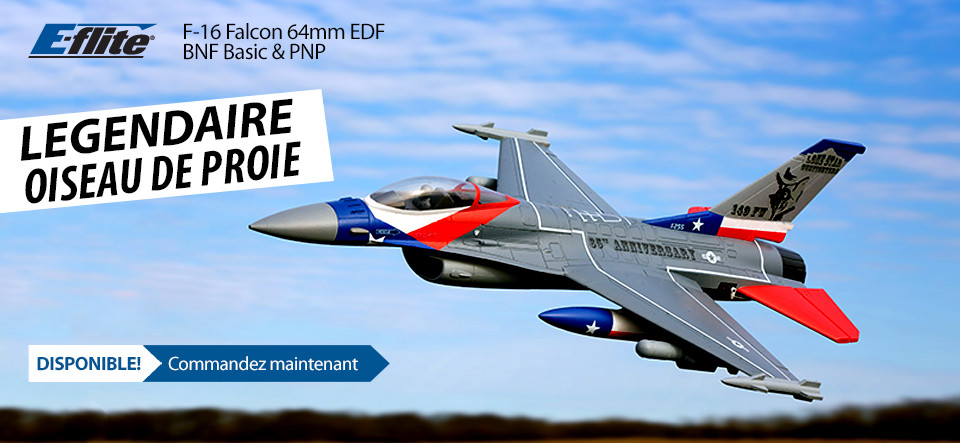 NOUVEAU! E-flite F-16 Falcon 64mm EDF Jet BNF Basic and PNP RC Aircraft